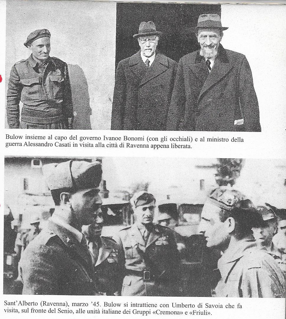 Boldrini con il Luogotenente del regno Umberto di Savoia, il Presiden te del Consiglio Bonomi e il Ministro della Guerra Casati. Gennaio 1945