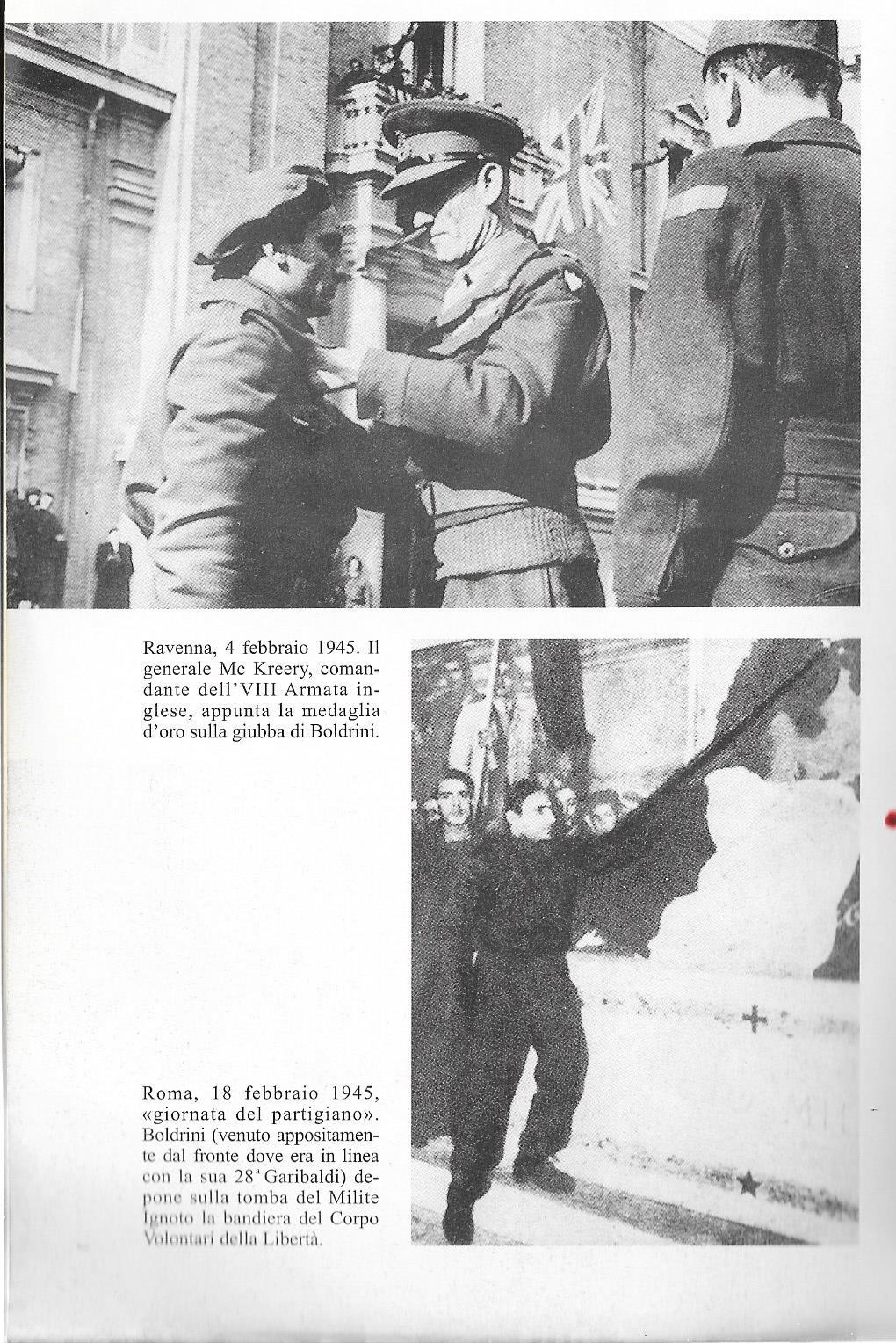 Boldrini riceve la medaglia dal Generale McCreery e posa il tricolore all'Altare della Patria a Roma, Febbraio 1945