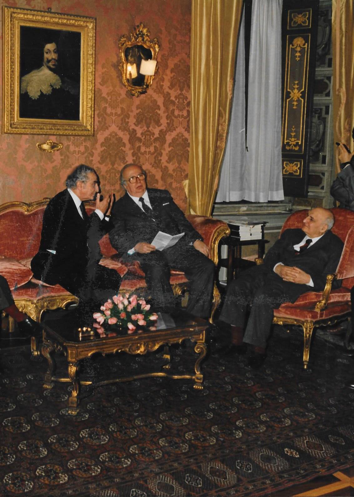 Boldrini con il Presidente del Senato Giovanni Spadolini ed il Presidente della Corte Costituzionale Ettore Gallo