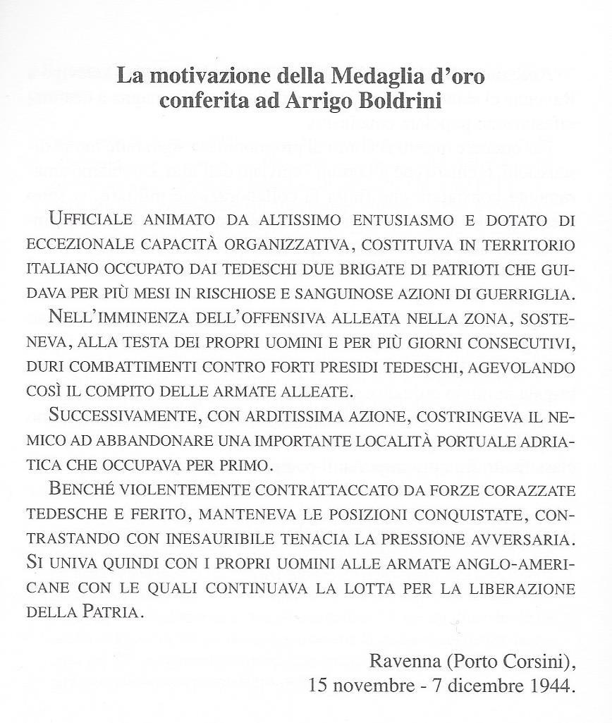 Motivazione Medaglia d'Oro a Boldrini